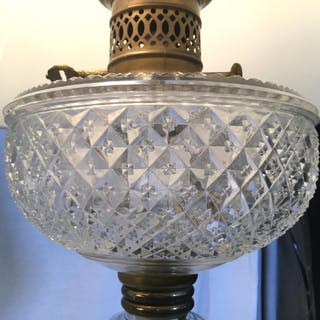 Vintage Cut Glass Lamp W Gold Toned Metal Base