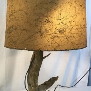 Vintage Hand Crafted Driftwood Table Lamp