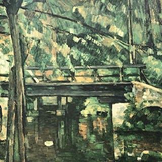Framed Cezanne Print on Board, Bridge at Maincy