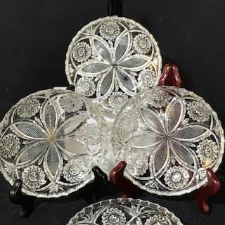 Set 7- Vintage Cut Glass Luncheon Plates