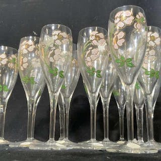 Set 14 French Crystal Painted Champagne Flutes