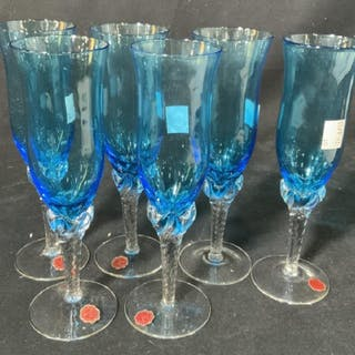Set 6 Blue Venetian Glass Flutes, Italy