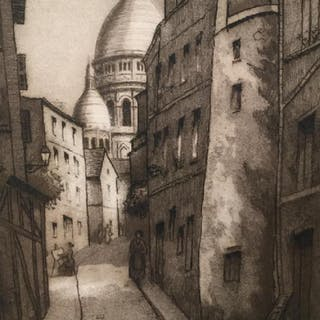 Signed Etching Depicting Street in Montmartre