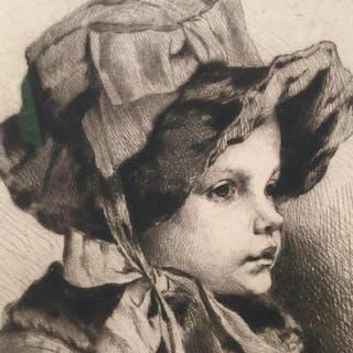 Framed Engraving Of Girl In Winter Clothing