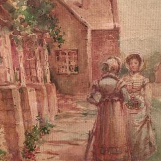 Signed Antique Watercolor Depicting 2 Women