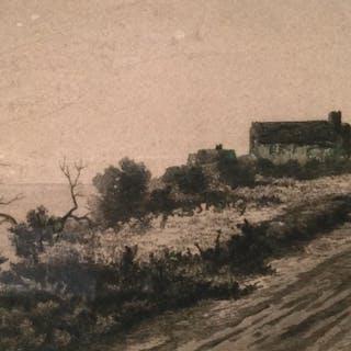 Signed Engraving, Cottage in Landscape