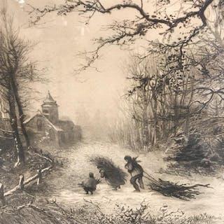 Signed & Framed Engraving Of Winter Scene