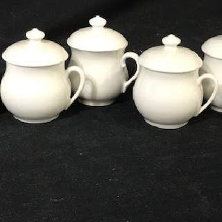 Set 9 APILCO White Porcelain Pot de Creme Cups