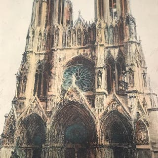 Signed Hand-Colored Engraving, Reins Cathedral
