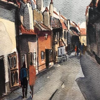 Signed Watercolor Painting, Figures In Street