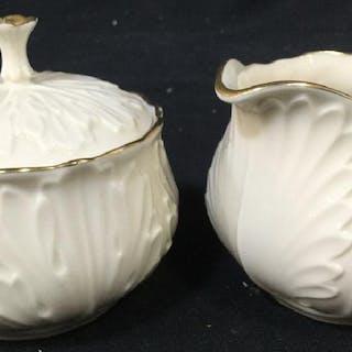 Lot 2 LENOX Porcelain Creamer & Lidded Sugar