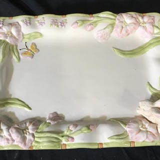 Ceramic Spring Rabbit & Butterfly Serving Tray
