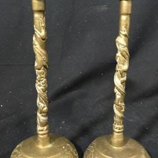 Pair Asian Gold Toned Brass Candlesticks