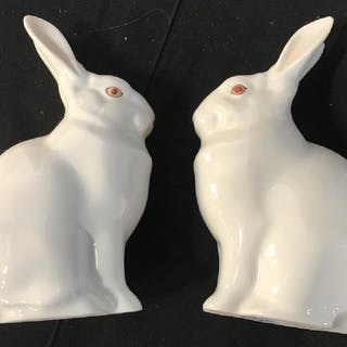 Pair HEREND Hand Painted Porcelain Rabbit Figurals