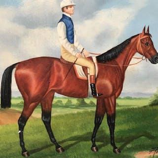Signed Oil on Canvas, Horse & Jockey
