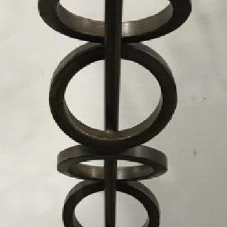 Bronze Toned Metal Lamp W Stacked Ring Detail