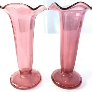 Pair Cranberry Glass Vases