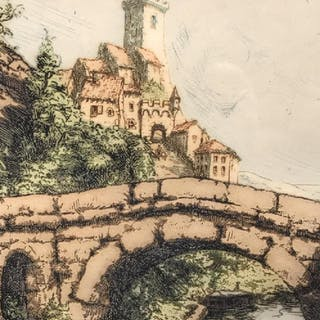 Signed Colored Engraving, Bridge in City