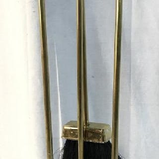 Lot 4 Gold Toned Brass Fireplace Tools