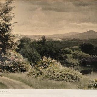 Early 20th Century Signed Hand-Colored Photograph