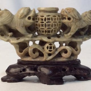 Carved Natural Stone Chinese Dog Figurine