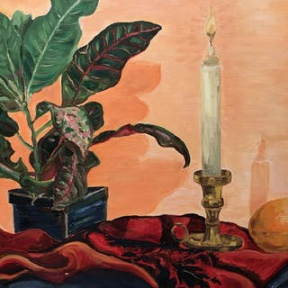 Signed Oil on Board, Candle & Plant Still Life