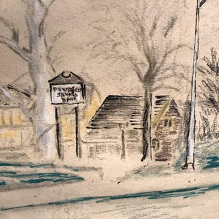 Signed Color Drawing, Street Scene