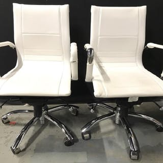 Pair White Toned Wheeled Computer Chairs