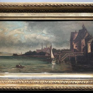 Initial Signed Oil on Board, Boats in Harbor