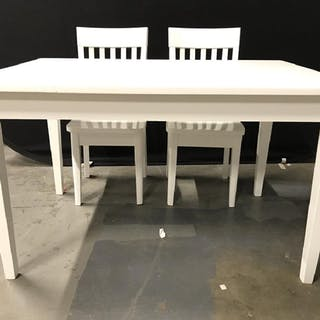 Lot 3 PJ KIDS White Toned Wooden Table & Chairs