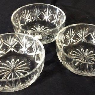 Set 3 Vintage Cut Crystal Bowls