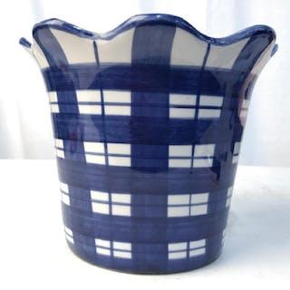 Blue Plaid Cache Pot