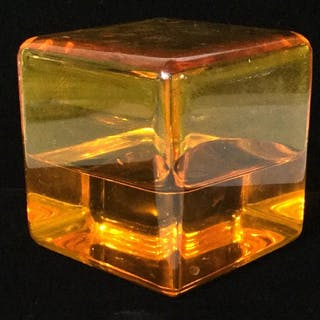 Art Deco Amber Toned Resin Paperweight