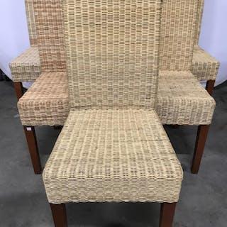 Set 6 Woven Wicker & Wood Side Chairs