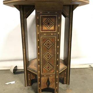Wooden Inlaid Side Table W Mother Of Pearl Detail