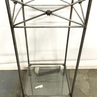 Metal Side Table W Glass Top