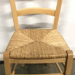 Wooden Side Chair W Rush Seat