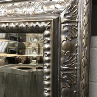 Beveled Mantel Mirror in Silver Tone Frame