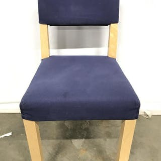 Wooden Chair W Blue Toned Seat & Backrest