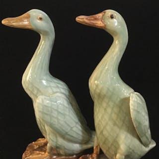 Pair- Handmade Chinese Porcelain Duck Figurals