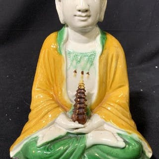 Signed Asian Porcelain Seated Buddha Figural