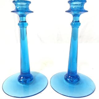 Blue Toned Art Glass Candlesticks