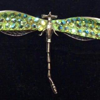Signed sterling Silver Dragonfly Brooch Pin