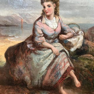 Signed Oil on Canvas, Young Girl On Shore