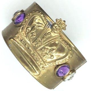 Unique Brass toned Metal Cuff Bracelet