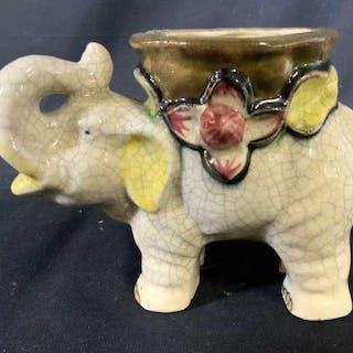 Ceramic Elephant Form Vase Vessel, signed