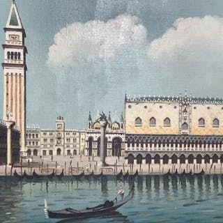 Signed VERBELLI Oil on Board, Piazza San Marco