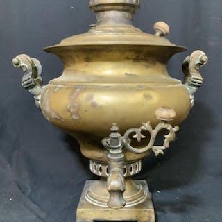 Large Russian Brass Metal Samovar