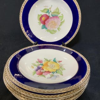 Set 8 Hand Painted Porcelain Plates, England