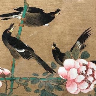 Pair Signed Japanese Paintings Of Birds On Silk